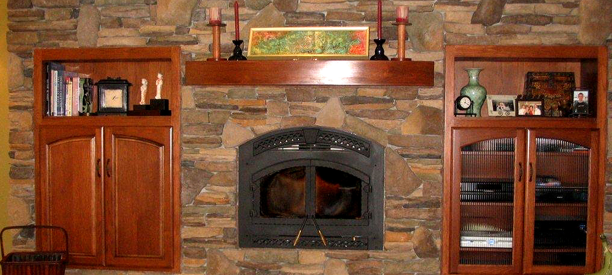 Fireplace mantel, brown hickory