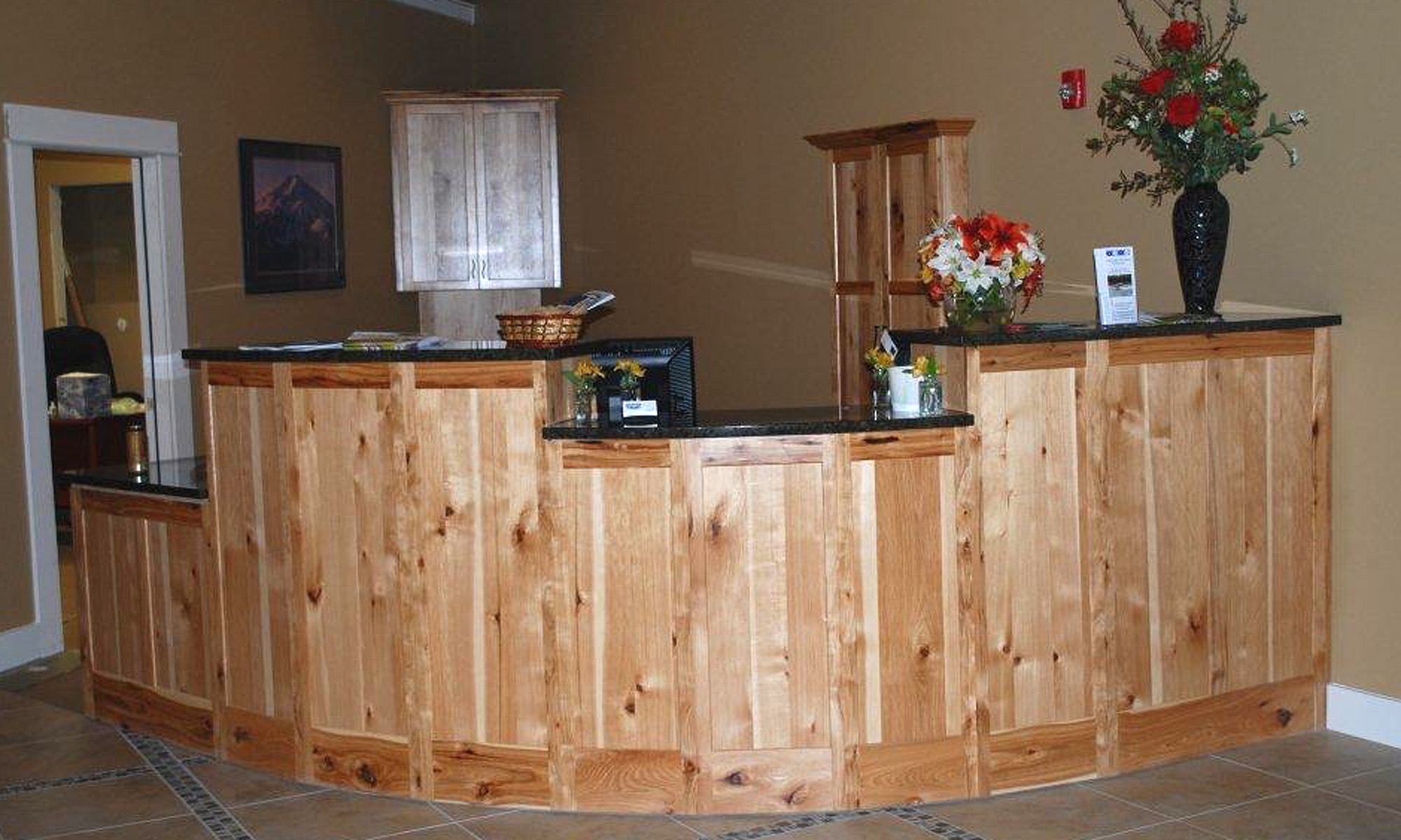 Hotel reception - rustic hickory