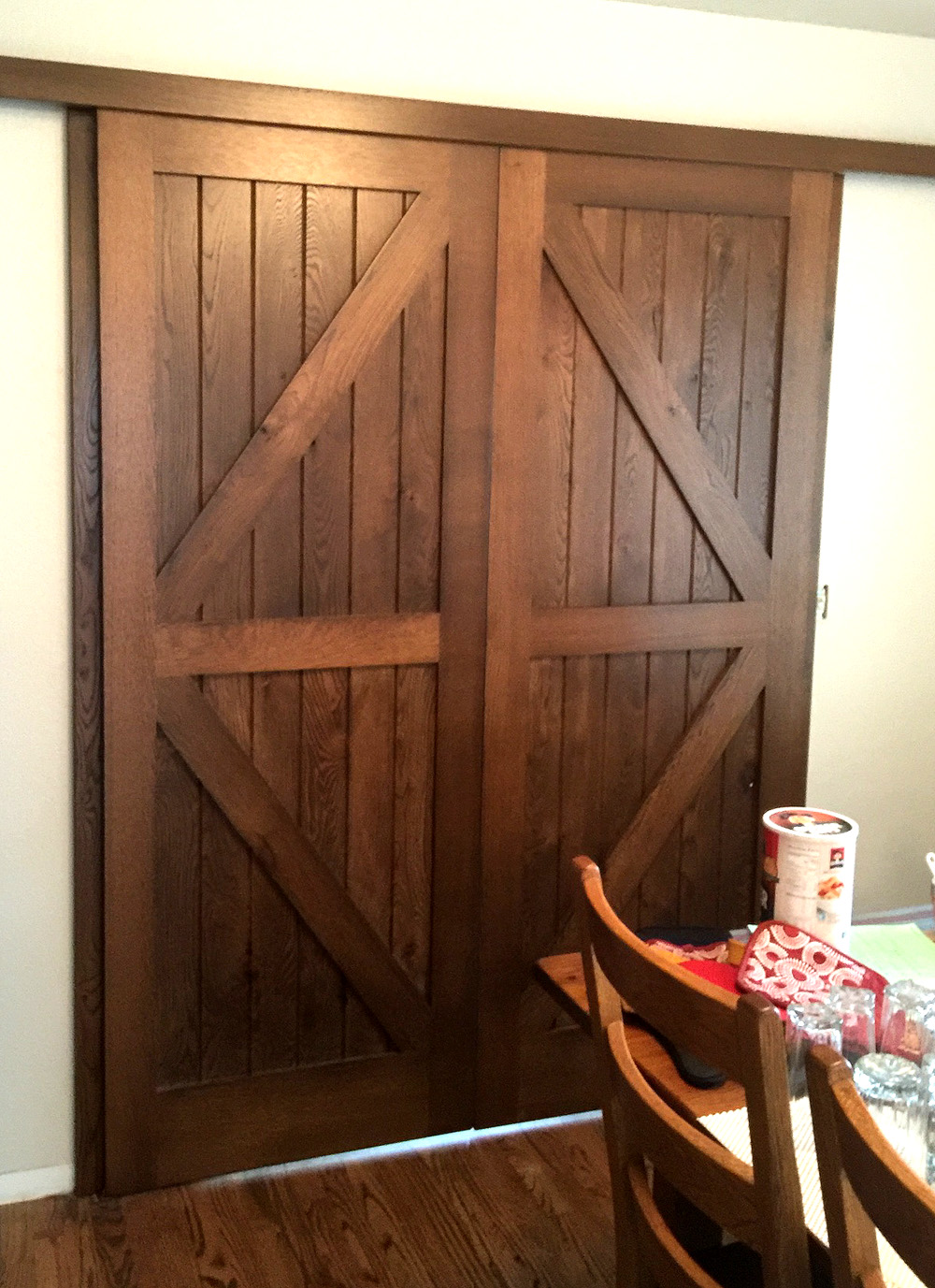 Barn doors - red oak, stained