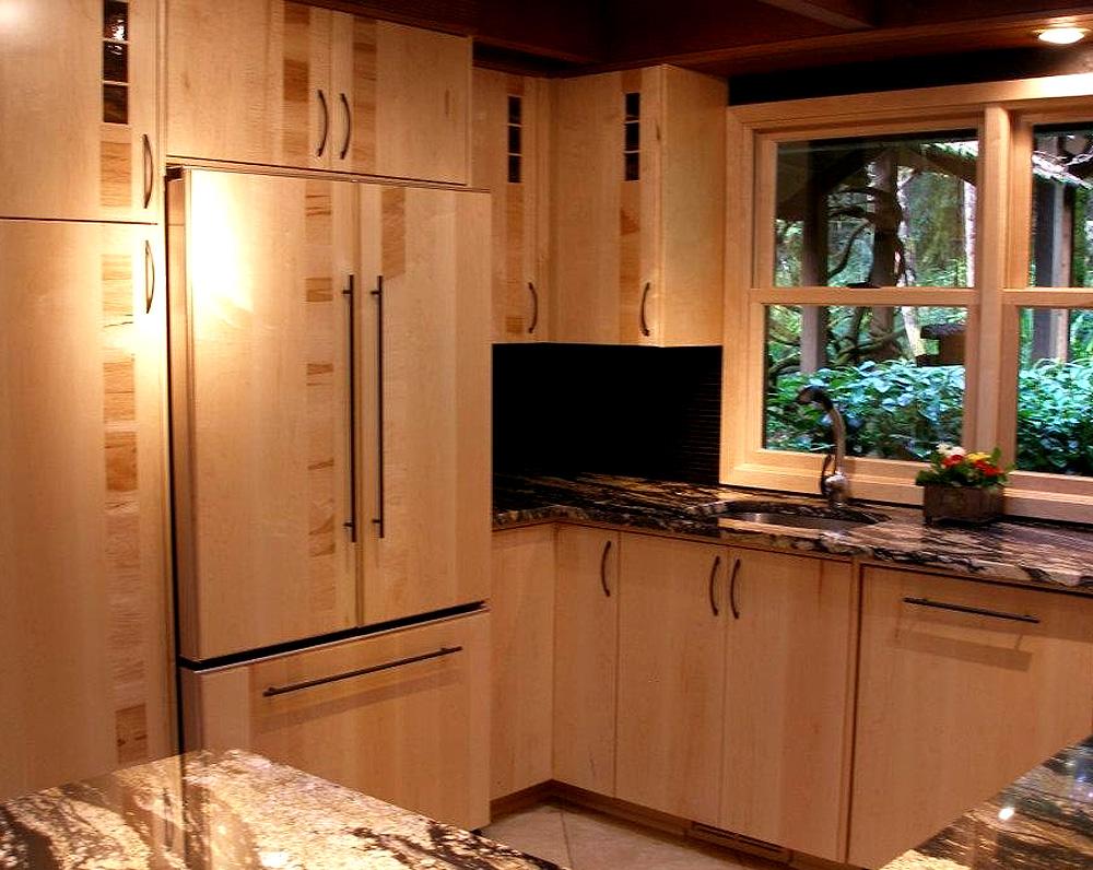 Kitchen - birch slab with accent dark birch