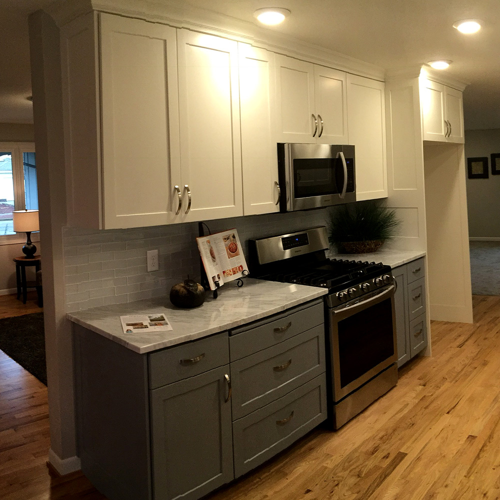 Kitchen - paint-grade with white upper and grey lower